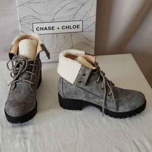 New Chase and Chloe Magdigan Faux Shearling Combat